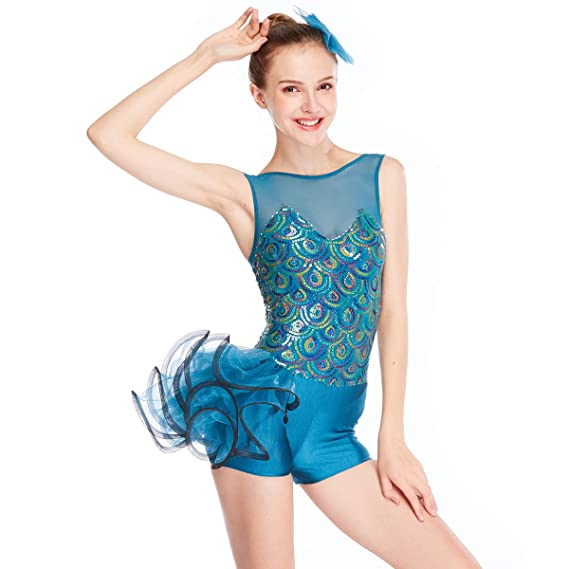 6afc3fcf8 MiDee Tank Top Pavonine Sequined Dance Outfits Ballet Costume ...