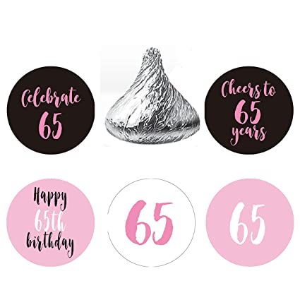 MAGJUCHE Pink 65th Birthday Party Favor Stickers Round Candy Labels Fit Hersheys Kisses 200
