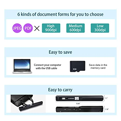 FLAGPOWER Portable Scanner Document Wand Scanner A3 A4 Photo Color Scan  Handhold Mobile Scanner for PC and Mac