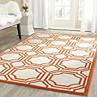 Safavieh Amherst Collection AMT411F Ivory and Orange Indoor/ Outdoor Square Area Rug (7 Square)