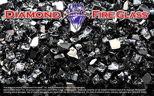 Black Reflective Nugget - Diamond Fire Pit Fireplace Glass - 5 Lbs