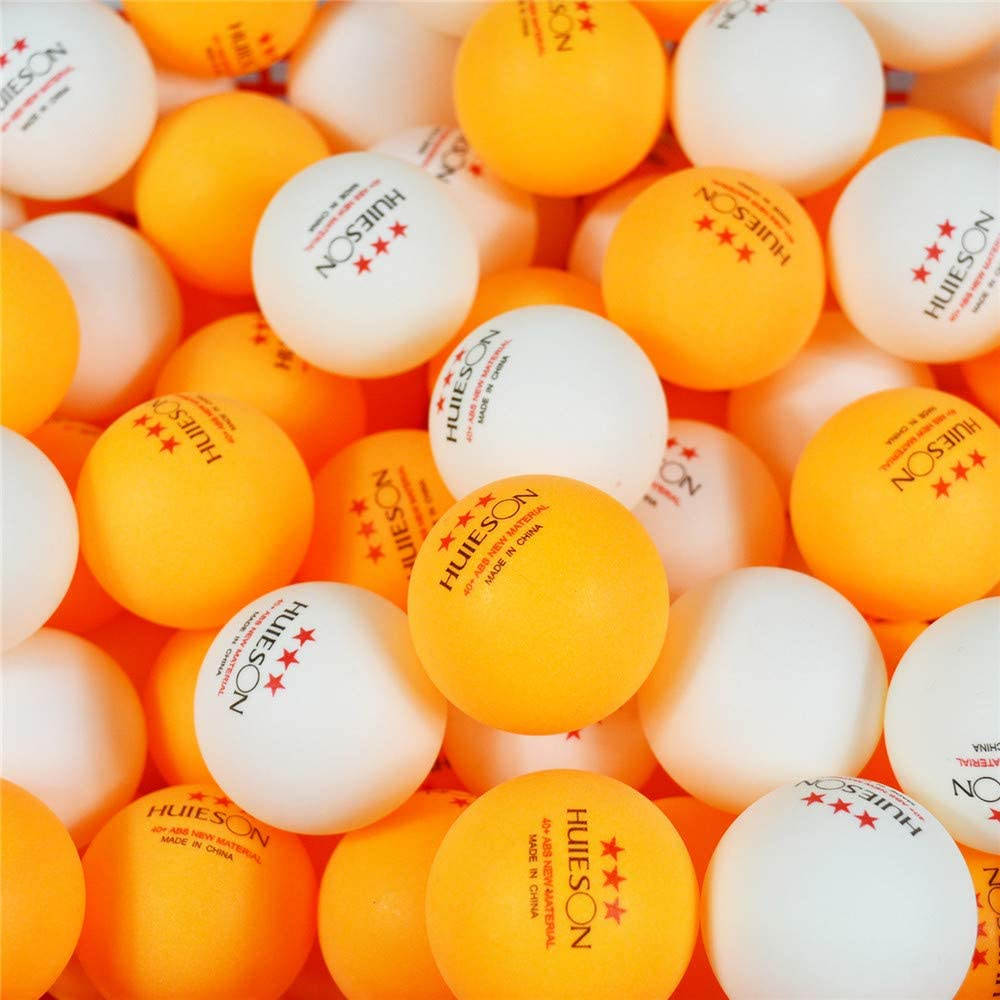 Table Tennis Balls with Seam Advanced ABS Plastic Ping Pong Balls New Material Table Tennis Training Balls HUIESON 100-Pack 3 Star 40 Orange White