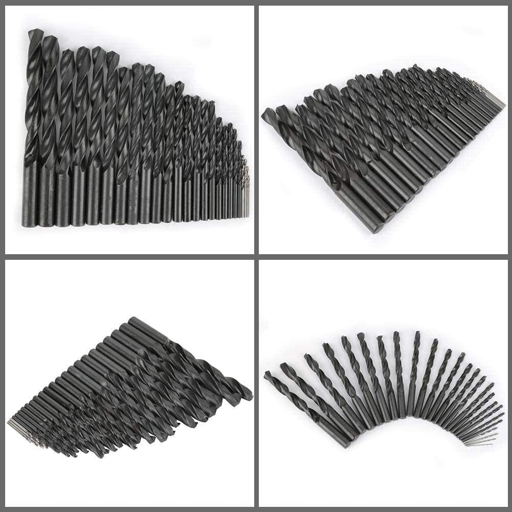 Color : Black High Speed Steel Twist Drill Bits Set 25pcs Straight Shank Twist Drill Bits Tools 1mm-13mm