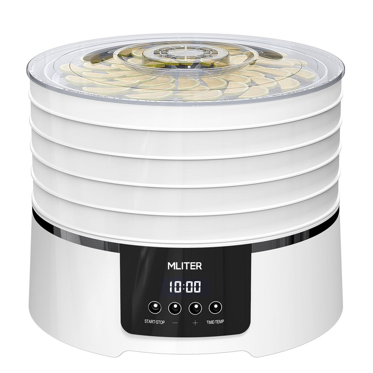 MLITER BPA Free Digital Food Dehydrator Machine with 5 Dishwasher Safe Trays for Meat Fruit Vegetable Herb and Beef Jerky, Countdown Time & Temperature Presetting - Home Use - 450W/White