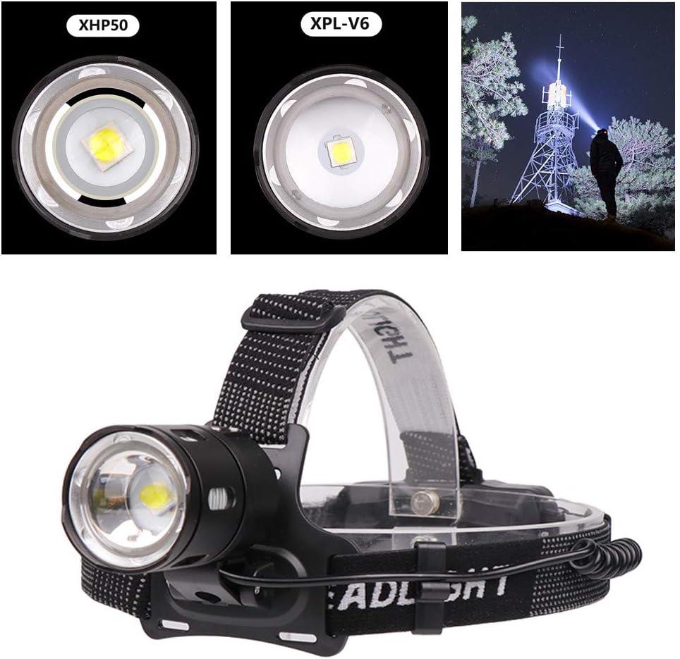 2035-P50 Amyove Linterna Frontal de Alta Potencia LED XPL-V6 XHP50 6500K de luz Blanca XHP50