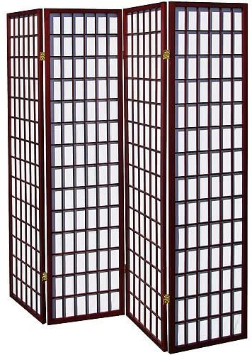 Home Furnishings- 4-Panel Shoji Screen Room Divider, Cherry