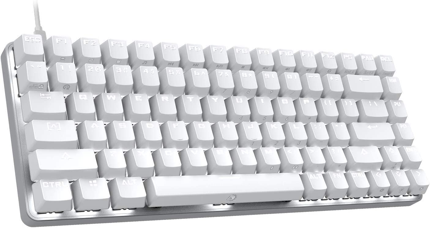 DREVO Excalibur 84 Cherry MX Mechanical Gaming Keyboard Full Metal White LED Backlit (Cherry MX Red Switch, White)