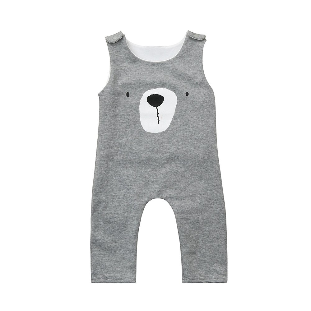 Geo Wolf Head Baby Rompers One Piece Jumpsuits Summer Outfits Clothes White