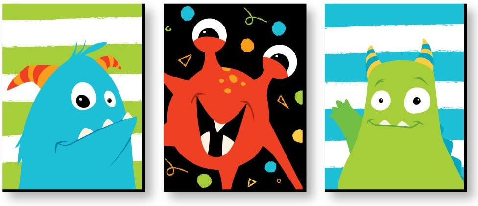 Big Dot of Happiness Monster Bash - Nursery Wall Art and Kids Room Decorations - Gift Ideas - 7.5 x 10 inches - Set of 3 Prints