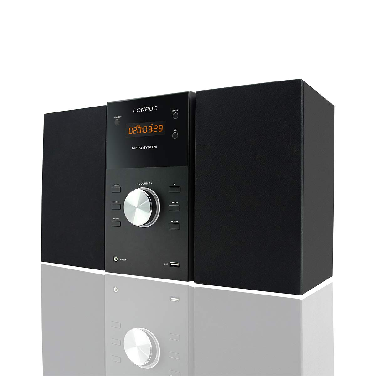 LONPOO Micro Hi-Fi CD Sound System Player 30W RMS Compact Stereo Audio Speaker with Remote Control, Bluetooth, FM Radio, USB MP3 Playback & Aux-in, Black by LONPOO