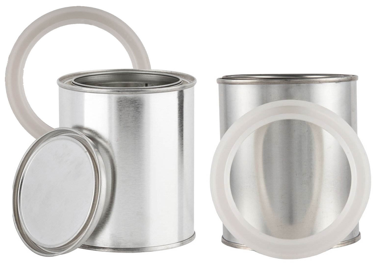 Seal Paint Can with Lids (2 Pack) Empty Quart Sized Metal Storage Empty Cans with Overseal Ring Securing Tops Container Set Unlined (Quart)