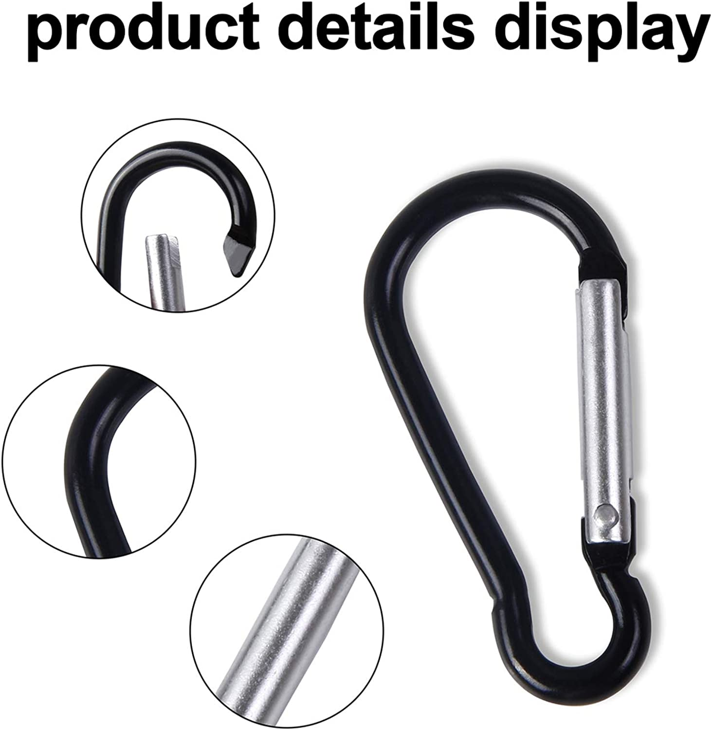 UPINS 100 Pcs New Design Multicolored Aluminum Keychain Carabiner Spring Clip D Shape Hook Durable Sport Accessories for Outdoor Home RV Fishing Hiking Traveling Backpack: Clothing