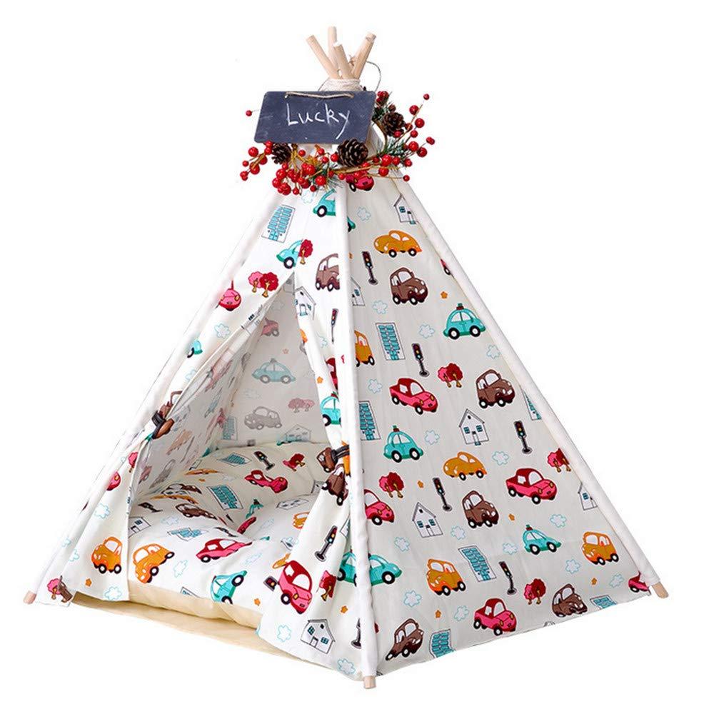 50x50x60cm Mzdpp Pet Tent Indoor Play House Washable Cat Dog Bed Warm Soft Mattress Car Print 50  50  60Cm