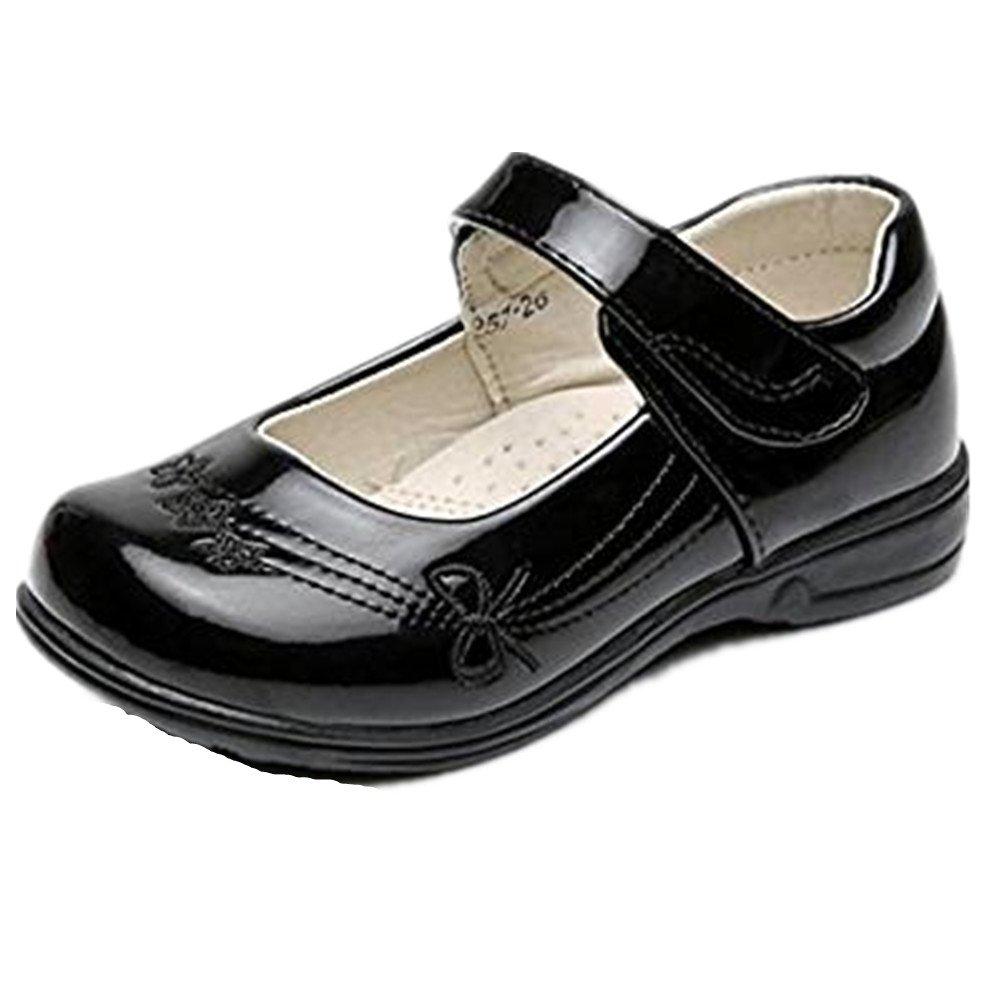 Bumud Girl's School Uniform Mary Jane Flat Shoes (Toddler/Little Kid) (9 M US Toddler, Black 1)