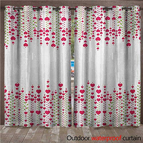 BlountDecor Love Door/Gazebo Curtain Heart Bouquet Plants Leaves Creativity Valentines Flowers Stylish ArtworkW120 x L84 Magenta Green White