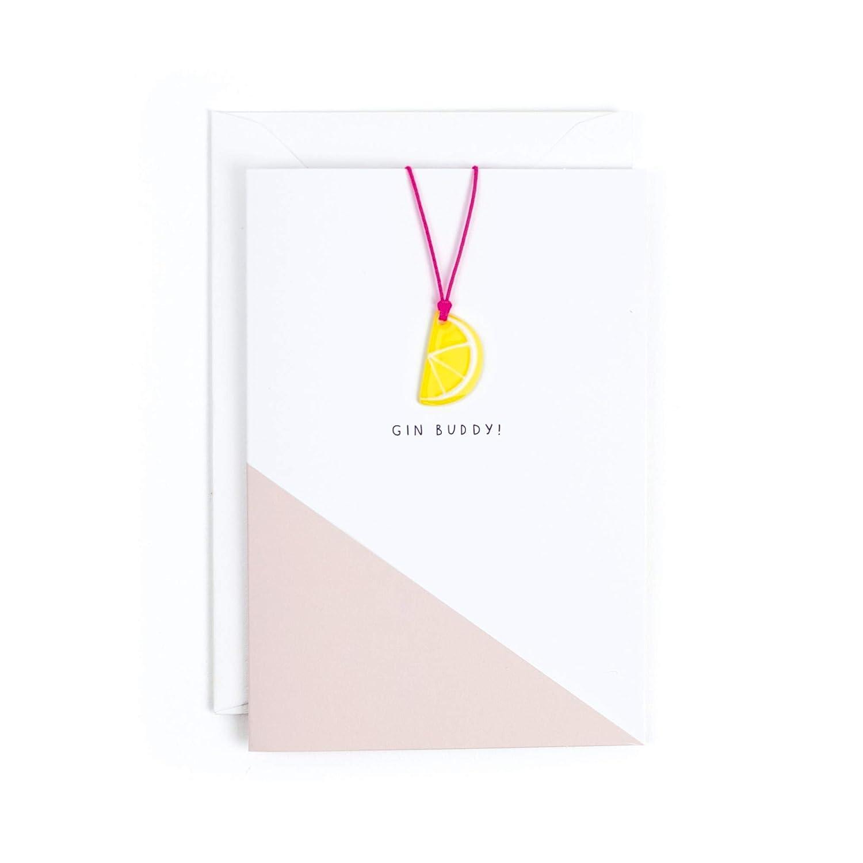 Hotchpotch Gin Buddy Card with Lemon Slice Plastic Necklace