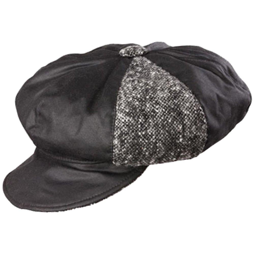 Olney Ellie Ladies Wax and Tweed Bakerboy Cap (Black)