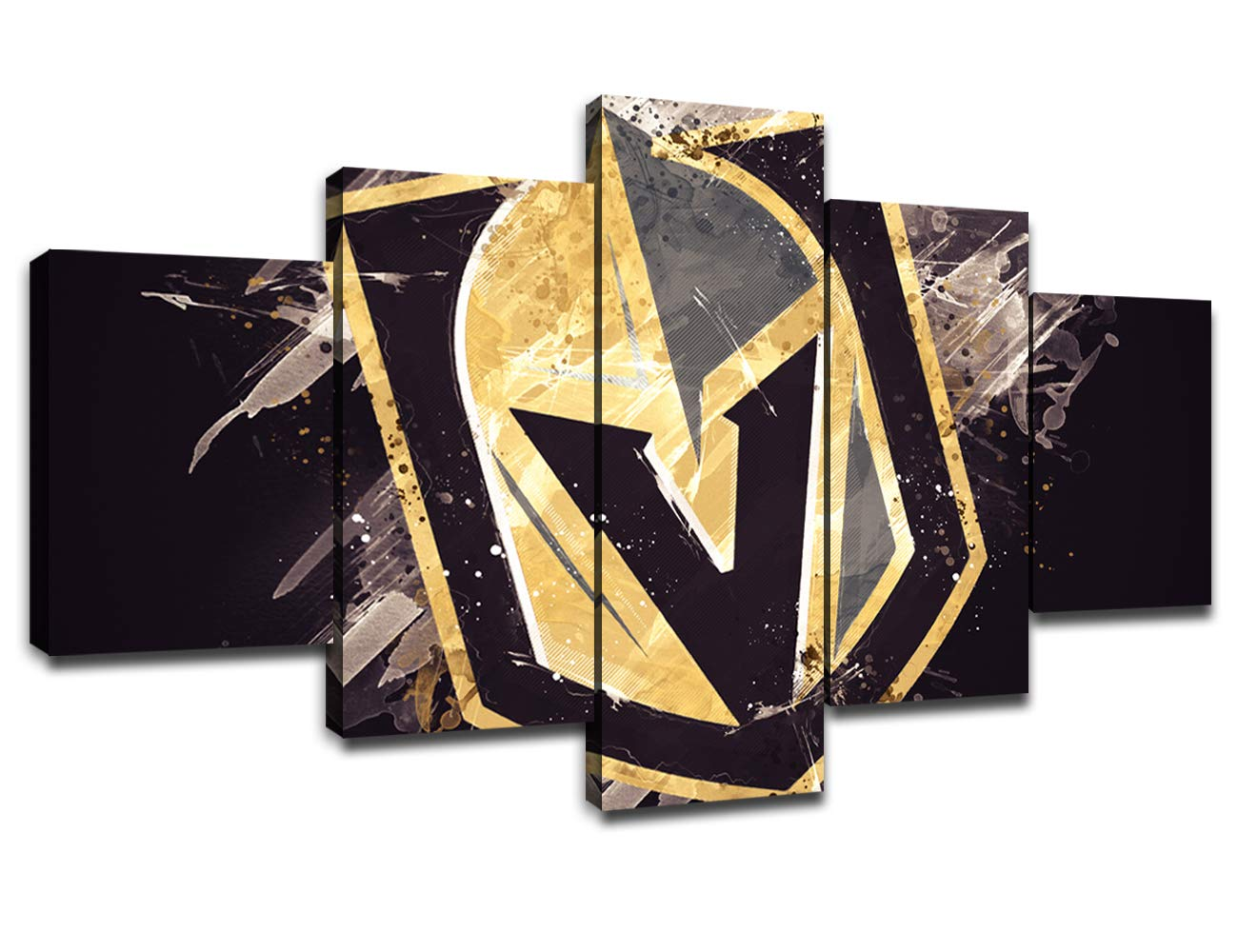 Vegas Golden Knights Poster Wall Decor for Living Room Painting 5 Piece NHL Hockey Team Logo Canvas Prints Wall Art Picture Decoration for Home Poster with Frame Ready to Hang(60''Wx32''H)