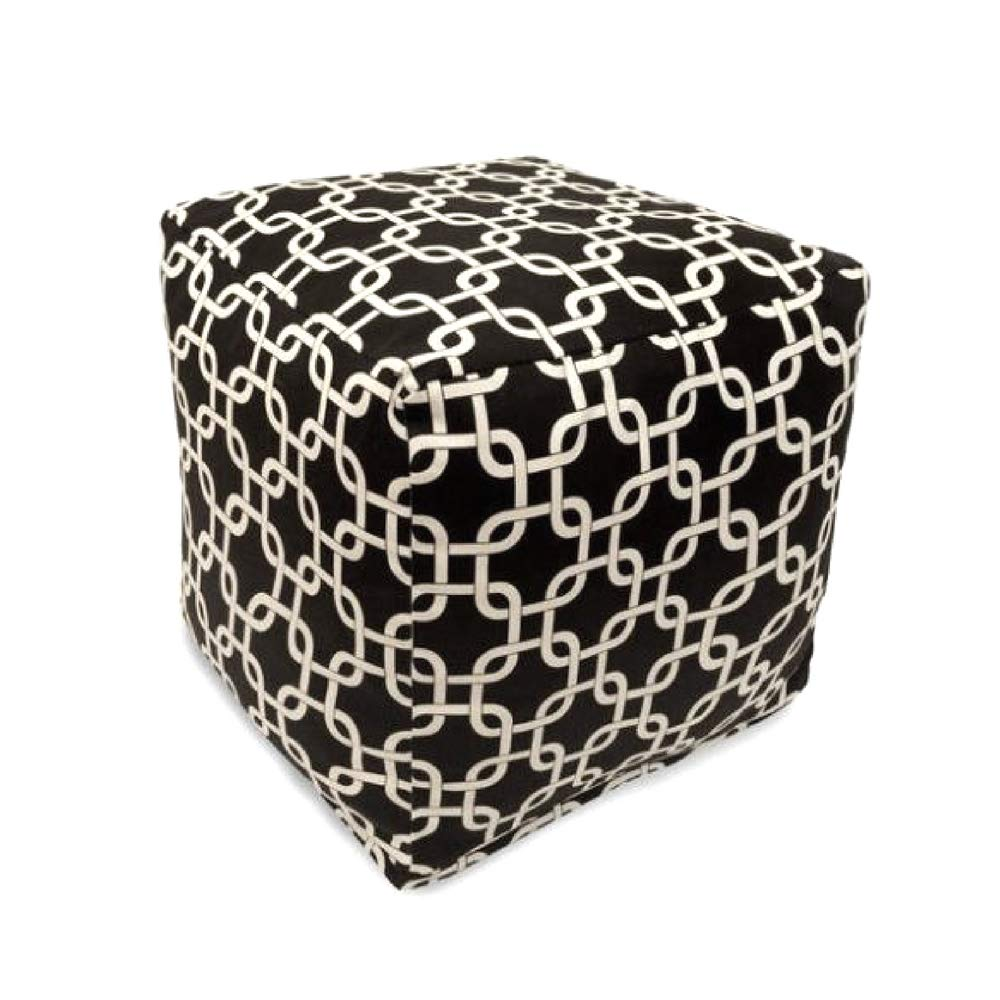 ghy Poof Seat Indoor Outdoor Black Woven Polyester Zippered Stool Footrest Side Table Comfortable Cubic Design Washable Living Room Bedroom Modern & eBook by JEFSHOP