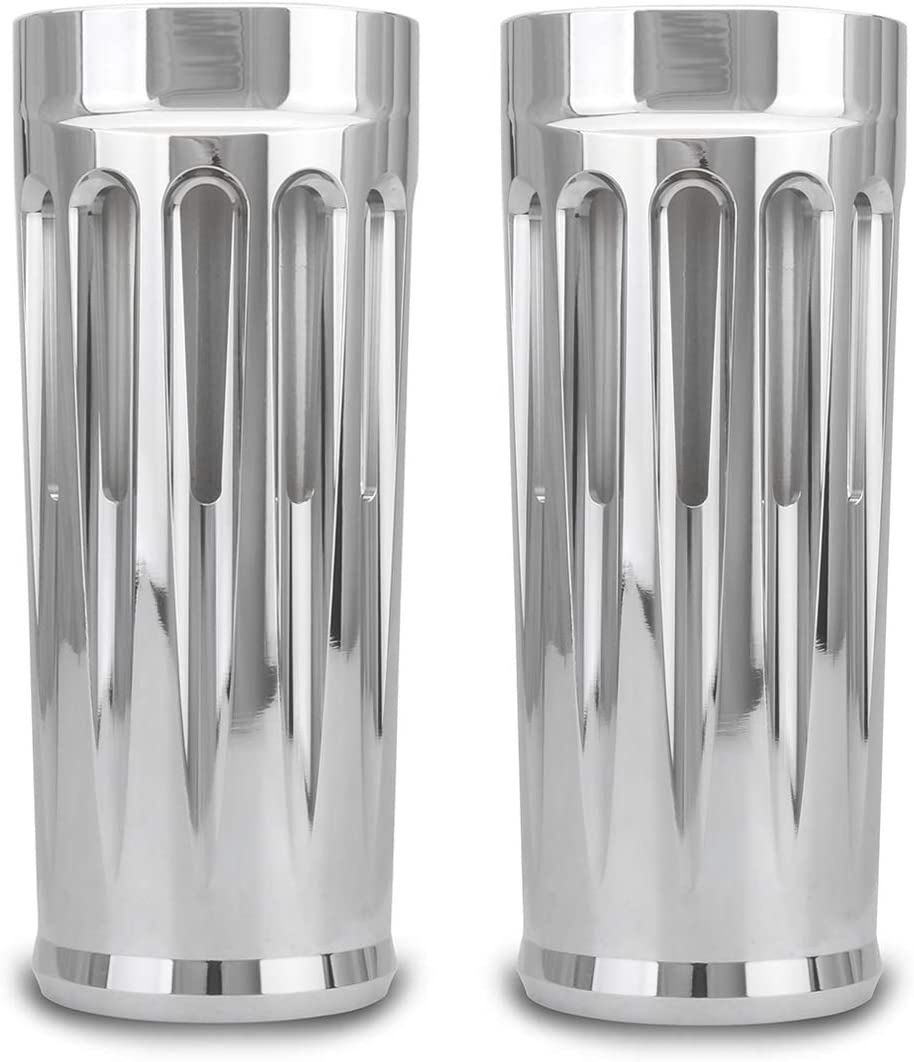 2 extend Deep CNC Cut chrome Fork cans Boots cover for harley touring FLHR FLHX FLHT FLTR road street road king