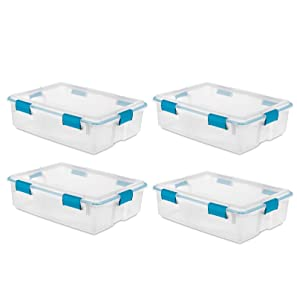 Sterilite 37 Qt Thin Gasket Box Clear Storage Bin Containers, 4-Pack | 19314304