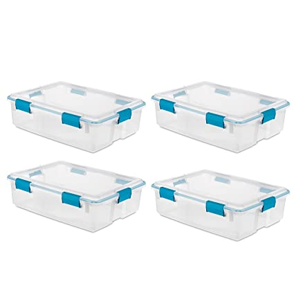 Sterilite 37 Qt Thin Gasket Box Clear Storage Bin Containers 4-Pack | 19314304  sc 1 st  Amazon.com & Amazon.com: Sterilite 37 Qt Thin Gasket Box Clear Storage Bin ...