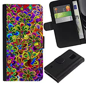 APlus Cases // Samsung Galaxy S5 V SM-G900 // Floral vibrante Primavera violeta amarillo púrpura // Cuero PU Delgado caso Billetera cubierta Shell Armor Funda Case Cover Wallet Credit Card