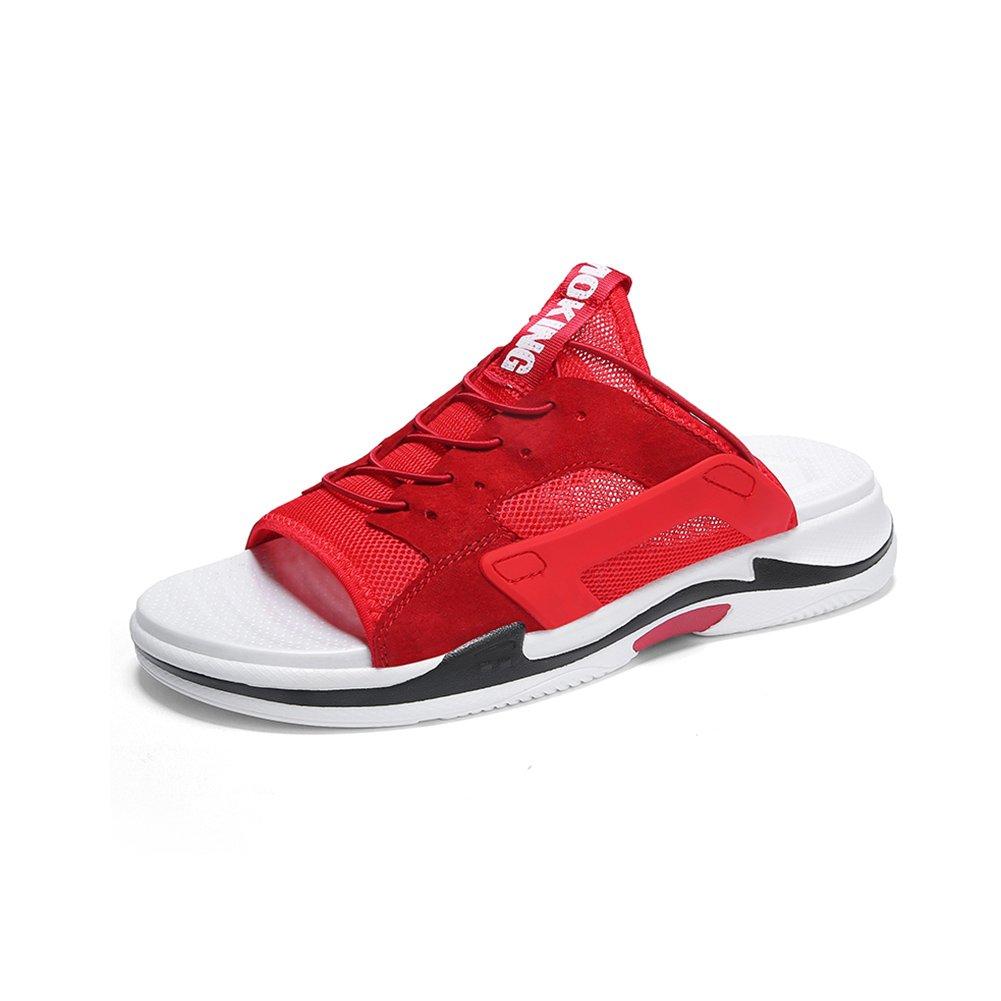 WYYY Calzado De Hombre Sandalias Temporada De Verano Doble Uso Fondo Grueso Punta Abierta Transpirable Sandalias Exterior Zapatos De Playa Zapatos Casuales Sandalias De Playa EU41/UK7.5-8|Rojo