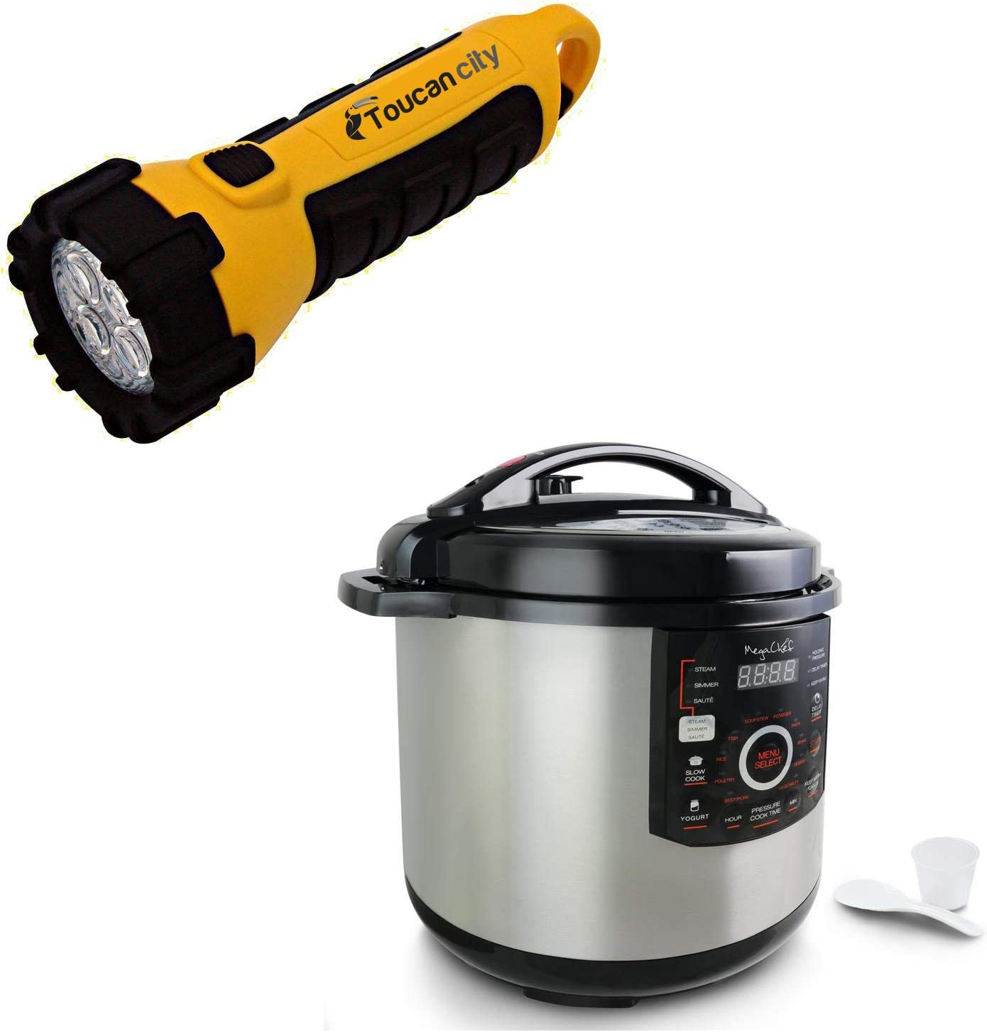 Toucan City LED Flashlight and MegaChef 12 Qt. Black and Silver Electric Pressure Cooker with Automatic Shut-Off and Keep Warm Setting 985110831M
