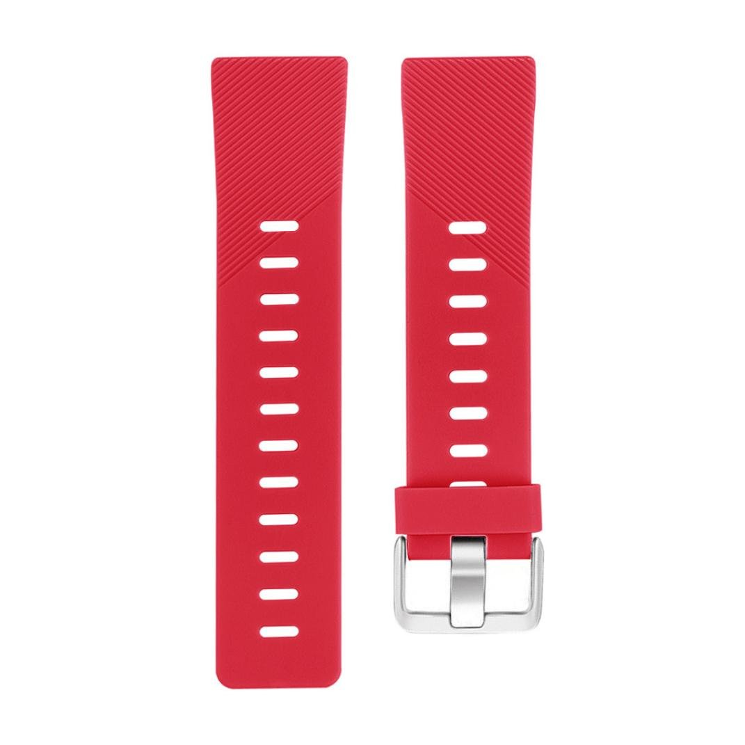 Lovewe Replacement Fashion Sports Twill Silicone Bracelet Strap Band For Fitbit Versa 228mm (Red)
