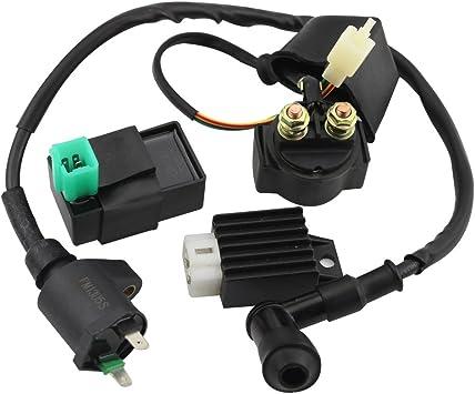 Minireen CDI Box Ignition Coil Solenoid Relay Voltage Regulator with Spark Plug for 50cc 70cc 90cc 110cc 125cc ATV Dirt Bike and Go Kart