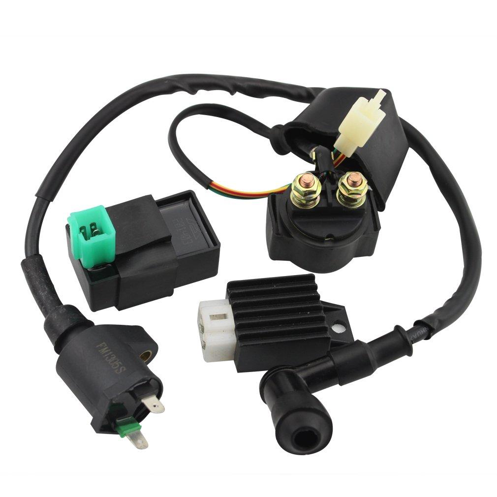 GOOFIT CDI Box Ignition Coil Solenoid Relay Voltage Regulator for 50cc 70cc 90cc 110cc 125cc ATV Dirt Bike and Go Kart