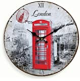 Orologio da parete in legno 29cm–Motivo: Inghilterra Londra cabina telefonica rossa–Orologio da cucina orologio numeri romani–Orologio al Quarzo