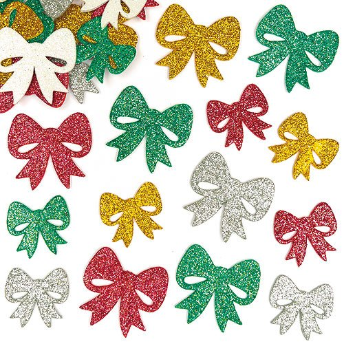 Baker Ross Bow Glitter Foam Stickers for Children to Decorate Crafts and Cards (Pack of 100)
