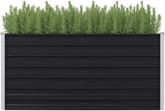vidaXL Hochbeet Verzinkter Stahl Grau Gemüsebeet Pflanzkasten Pflanzbeet