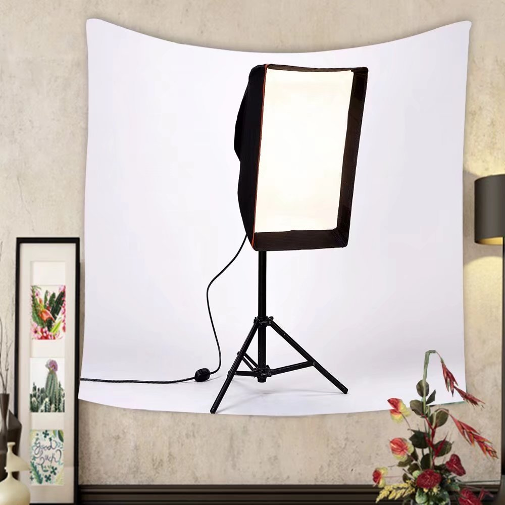 Keshia Dwete Custom tapestry black movie light on a black stand isolated on white background photo studio