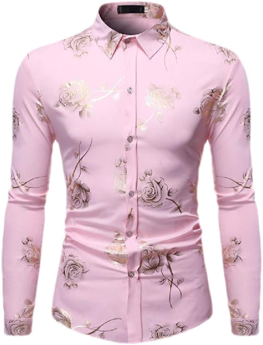 Men Fashion Floral Print Button Down Long Sleeve Casual Hawaiian Shirt