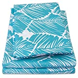 #10: 1500 Supreme Collection Extra Soft Tropical Leaf Teal Pattern Sheet Set, Queen - Luxury Bed Sheets Set With Deep Pocket Wrinkle Free Hypoallergenic Bedding, Trending Printed Pattern, Queen Size