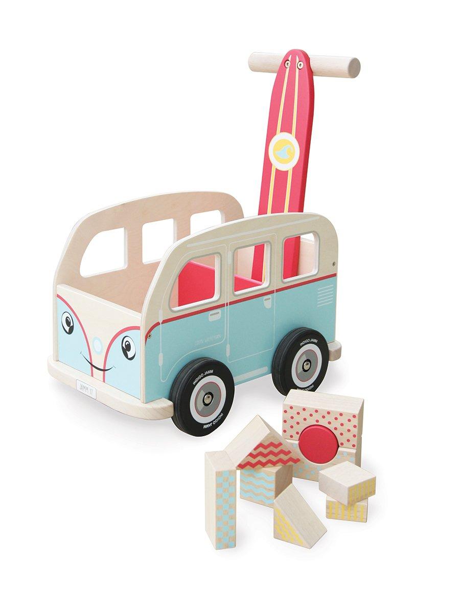 Indigo Jamm Colin Walkervan Activity Baby Walker with Retro Classic Campervan Design for Children Aged 12 Months Plus