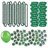 109 Piece Mega St Patrick's Day Toy Novelty Assortment; 12 Shamrock Necklaces, 24 Rubber Shamrock Bracelets, 72 St Patrick's Tattoos + BONUS Gift Boutique Happy St Patrick's Day Balloon!!