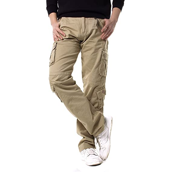64512c0d537b98 Mens Retro Cargo Combat Trousers Pockets Casual Camo Military Pants Coffee  Size 32