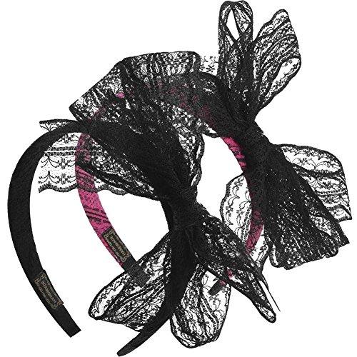 BAOBAO 2Pcs 1980s Lace Bow Headband Hair Hoop Women's 80s Costumes Accessories ()