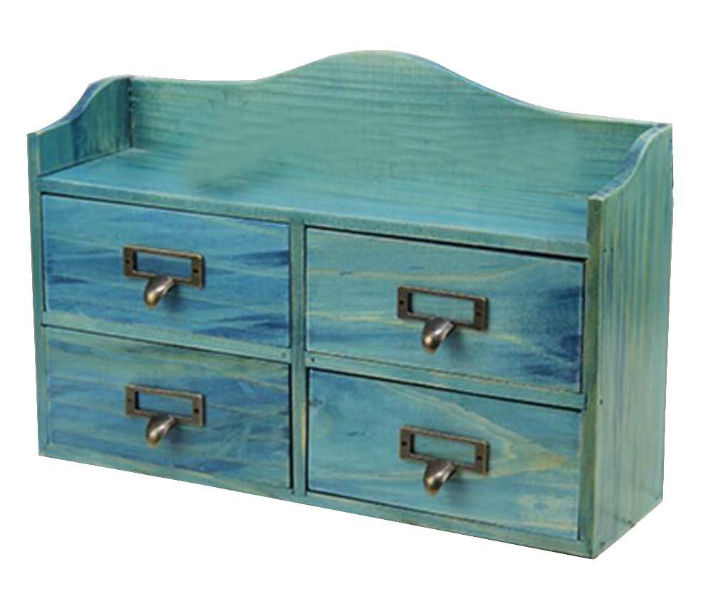 DRAGON SONIC Elegant Original Wood Storage Chests Desktop Receive Container Four Drawer