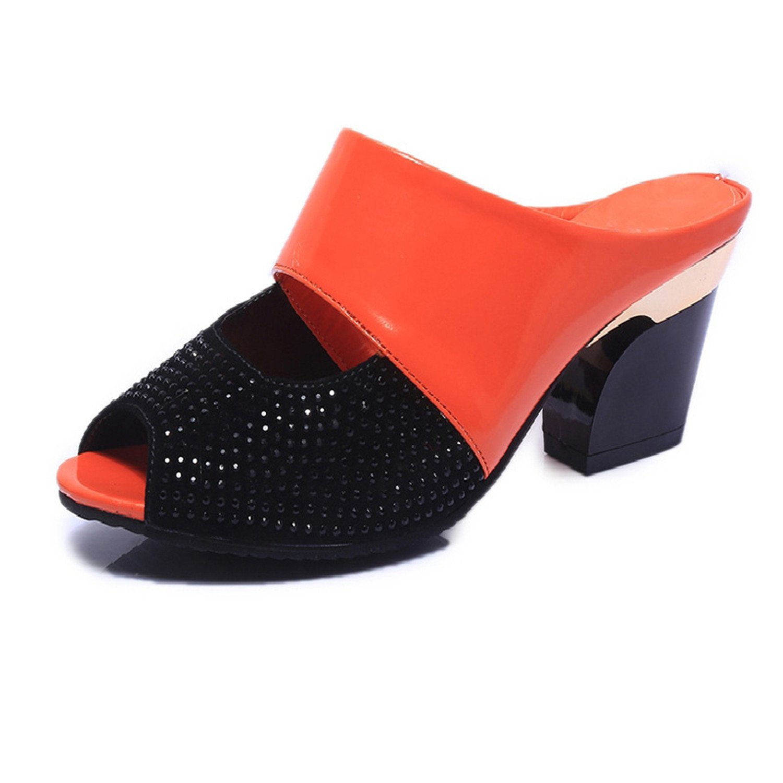 Women Summer Patent Leather Sandals Fashion Rhinestones Patchwork Shoes Woman Sexy Peep Toe Chunky Heels Flip Flops B07CVCNXMP 7.5 B(M) US|Orange