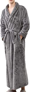 2018 Clearance!Men Winter Warm Bathrobe,Towelling Robe,Lengthened Home Clothes Shawl Long Sleeved Robe Coat Long Sleeve Sleep Robe Coat for Gym Shower Spa Hotel