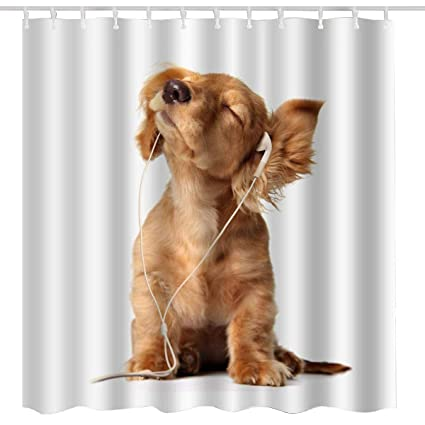 Animal Shower Curtain Funny,Cute Dog Fun Brown Dog Listen Music Art Print  Cool Fabric