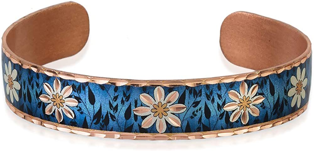Adjustable Women Girls Flower Bracelets Copper Jewelry with Multi-Colored Background Handcrafted Copper Cuff