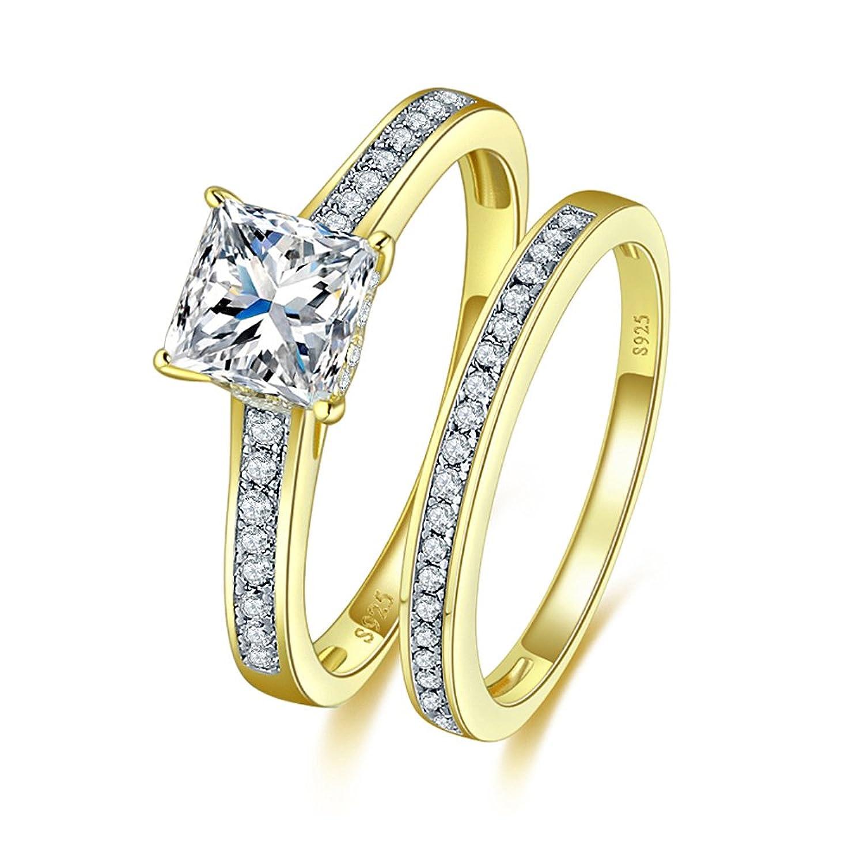 JQUEEN 18k Gold Plated 925 Sterling Silber Princess Cut CZ Braut Set Engagement Ehering Bands