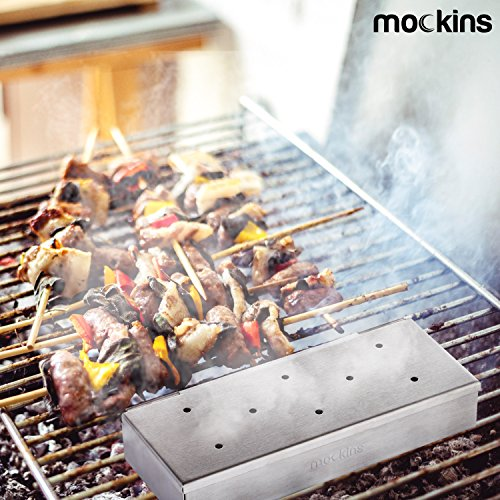 Mockins Even Thicker Stainless Steel BBQ Smoker Box For Grilling Barbecue Wood Chips On Gas Or Charcoal Grills … …