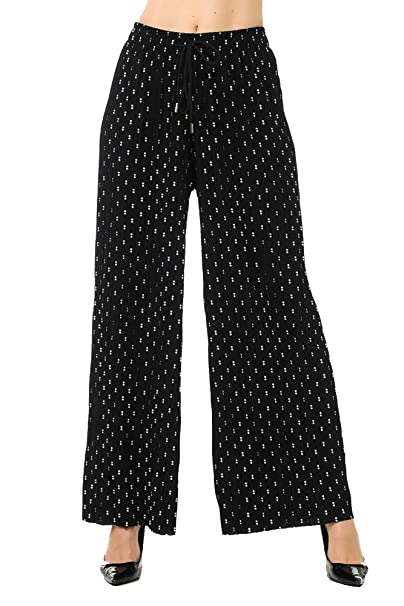 85e874a9f916d Gaam Women's High Waisted Pleated Palazzo Pants - Comfortable Elegant Loose  11 one Size